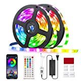 RGB Led Strip Lights 32.8ft,GLIME 10m Led Strips with App Controlled & Music Sync, 5050 Flexible Color Changing Led Strip Lights 44 Keys IR Remote for Bedroom Kitchen Party Bar DIY Decoration