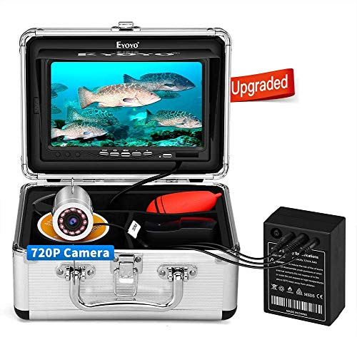 Eyoyo Underwater Fishing Camera, Ice Fishing Camera Portable Video Fish Finder, Upgraded 720P Camera w/ 12 IR Lights, 1024x600 IPS 7 inch Screen, for Ice, Lake, Boat, Sea Fishing (15m)