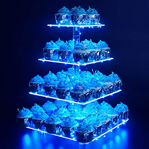 Cupcake Stand – Premium Cupcake Holder – Acrylic Cupcake Tower Display – Cady Bar Party Décor – 4 Tier Acrylic Display for Pastry + LED Light String – Ideal for Weddings, Birthday (Blue Light)