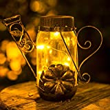 Solar Outdoor Garden Tabletop Lanterns - Hanging Solar Lights Metal Flower Pattern Solar Lamp for Patio Yard Lawn