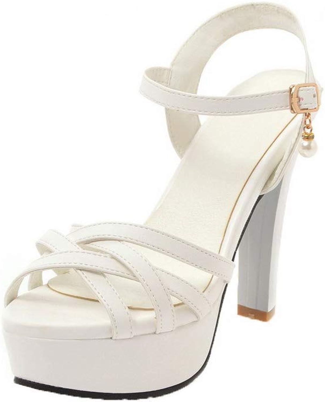 AmoonyFashion Women's Open-Toe Buckle Pu Solid High-Heels Sandals, BUTLT007489