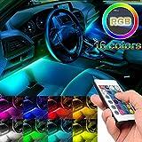 sunva Car Interior Lights 4Pcs 48 LED Car Floor Atmosphere Glow Neon Lights Multi-Color Music Car LED Strip Lights Under Dash Lighting Wireless Remote Control DC12V