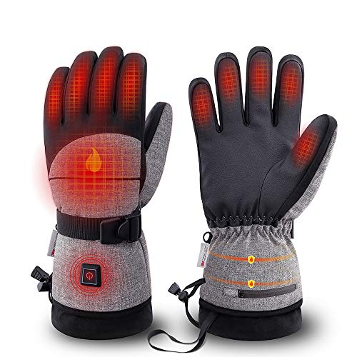 COAN Heated Gloves with 3000 MAH Rechargeable Battery - 3 Heating Levels Intelligent Control,Over 7hrs Warmth, 3M Thinsulate Waterproof Breathable Winter Gloves, Touchscreen Ski Glove for Men Women