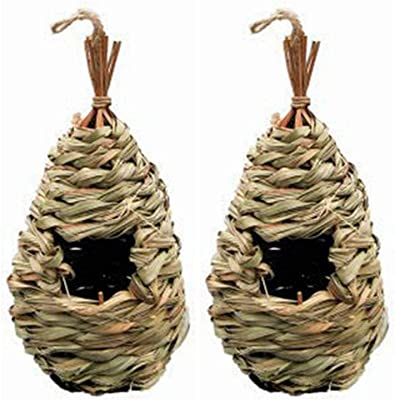 LWINGFLYER 2X Bird Nest, Hand Woven Hanging Hummingbird House, Outside Roosting Pocket Nest Provides Shelter for Finch & Canary