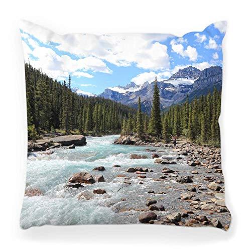 Funda de Cojine Funda de almohada decorativa River Valley Mountain Wood Parque Nacional Jasper Banff Canadá Columbia Alberta Paisaje británico Throw Cojín 45X45CM