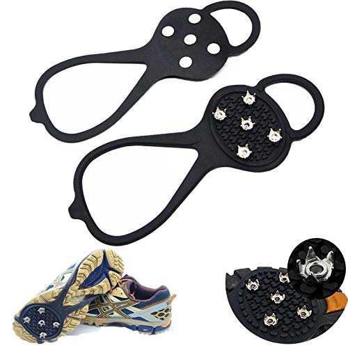 Ice Cleats,Shoe Traction Cleats Outdoor Anti-Slip with 5-claw Ice Fishing Gear Grippers Snow Grips Kleets for Boots Footwear for Walking Ice Fishing Jogging Climbing Hiking Mountaineering - Universal