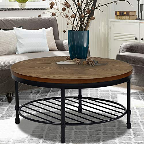 Round Coffee Table, Rustic Wood Surface Top & Sturdy Metal Legs Industrial Sofa Table for Living Room Natural End Table Modern Design Home Furniture with Storage Open Shelf (Brown)