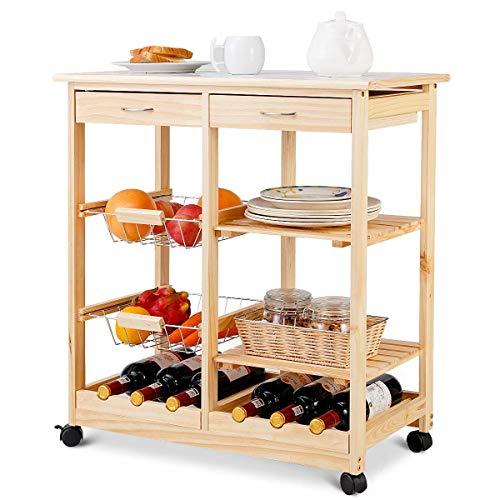 COSTWAY Carrello da Cucina con Ruote, Carrello con Due Cassetti Portabottiglie, Cestini Frutta in Metallo, Ripiani in Legno di Pino, Due Colori Disponibili, 67 x 37 x 75 cm (Naturale)