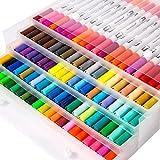 Rotuladores para colorear, rotuladores de punta doble, rotuladores de punta doble, rotuladores de acuarela, color 100 colores B