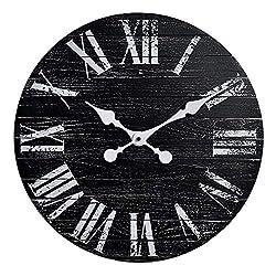 GoodTime 18 Inch Black Rustic Wood Wall Clock – Vintage Shiplap Roman Numerals Silent Clock - Farmhouse Wall Clocks for Indoor, Living Room, Bedroom, Kitchen, Dining Room Decor (Black)
