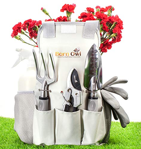Barn Owl Stainless Steel Garden Tools 9 Piece Gardening Set with Heavy Duty Shear Non Slip Handle and Storage Tote Bag