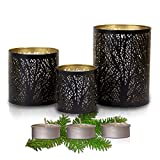 Black and Gold Votive Candle Holder Set of 3 - Elegant Decorative Candle Centerpieces for Tables and Home Decor with a Unique Tree Sleeve Design | Rustic to Modern Style [Includes 3 Tea Candles]