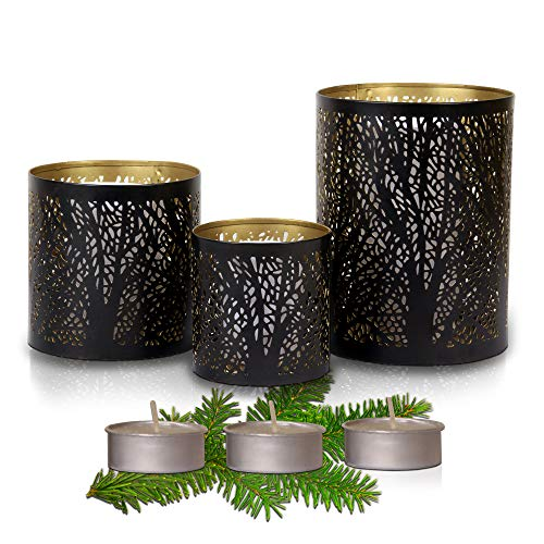 HESTIA Black and Gold Candle Holder Set of 3 - Stunning Decorative Candle Centerpieces for Tables and Home Decor with a Unique Tree Sleeves Design | Rustic to Modern Style [Including 3 Tea Candles]