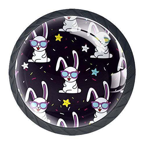 Pomo de cajón Gafas de conejo graciosas pomo y tirador para muebles estilo redondo de plástico usado en dormitorio sala de estar armario decoración 4 piezas 3.5×2.8CM