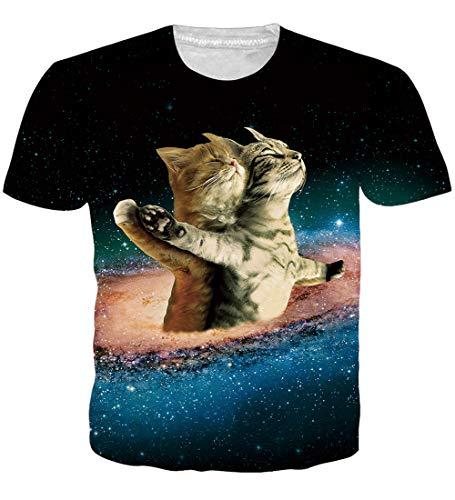 Loveternal 3D T-Shirt Herren Titanische Katze T-Shirt 3D Druck Shirt Casual Grafik Sommer Kurzarm Tops Weiß Tees L