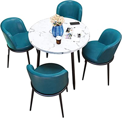 Amazon Com Table And Chair Combination Office Reception Negotiation Table Modern Small Round Table Coffee Shop Cake Shop Casual Table Balcony Living Room Dining Table Table And Four Chairs Cinema Meeting Room