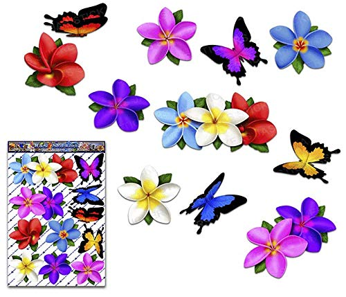 Mesa Mall JAS Stickers Multi PLUMERIA FLOWER Limited time sale Decals BUTTERFLY Frangipa Car
