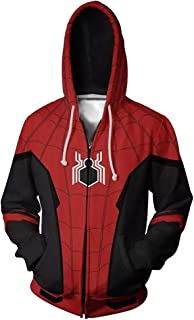 Spiderman Far from Home Hoodie Costume Adult Men 3D Printed Zip Up Sweatshirt for Halloween Holiday Party