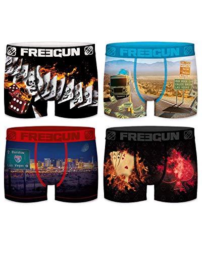 Freegun - Lot 4 de Boxers Fantaisie Homme Microfibre Confort - Disney - Marvel - Looney Tunes - Dragon Ball Z - Star Wars - Pokemon - Mario - Tsubasa - Stormtroopers (Série Poker 01, S)