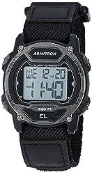 in budget affordable Armitron Sport Unisex 45/700 4GBK Digital Chronograph Black Nylon Strap