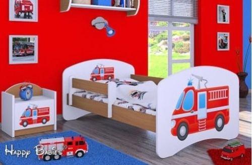 naka24 HB Kinderbett mit Matratze und Bettkasten - NEU, Verschiedene Motive Für Junge Buche (140x70cm mit Schublade, Feuerwehr 1)