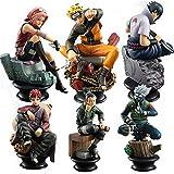 Figuras De Acción De Naruto, Juego De 6 Unidades De Ajedrez De PVC, Anime Naruto Sasuke Gaara, Kakashi, Colección De Decoración De Uchiha (6pcs No Box)