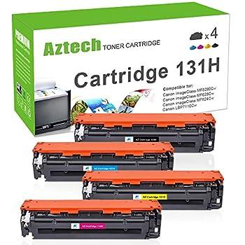 Aztech Compatible Toner Cartridge Replacement for Canon 131 131H CRG131 CRG-131 Toner Cartridge ImageClass MF8280Cw MF624Cw MF620C MF628Cw LBP7110Cw Printer Ink  Black Cyan Magenta Yellow 4-Pack
