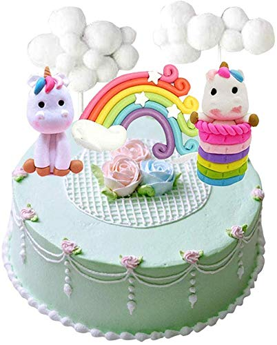 Cloud Rainbow + Unicorn Cake Toppers Kit Cake Decoration For Kids Girls Birthday Baby Shower Party Set de 5