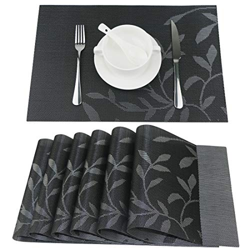 Fanuk Placemats Set of 6 Washable Heat Insulation Non-slip Woven Vinyl Place Mats for Kitchen and Dining Room (Black Leaf)