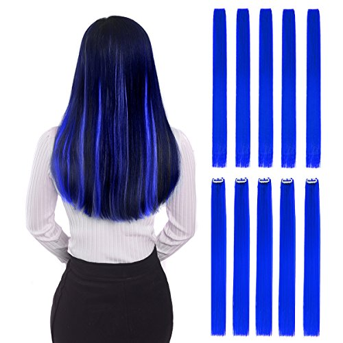 """Colored Clip in Hair Extensions 22"""" 10pcs Straight Fashion Hairpieces for Party Highlights Blue"""