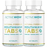 Mouthwash Tabs with Baking Soda, Mint & Spirulina - Natural Chewable Breath Freshening Tablets - Active Wow… (2 Pack)