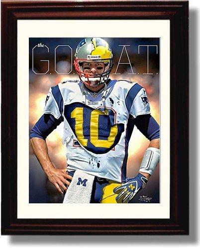 Framed Tom Brady Autograph Replica Print - Michgan Wolverines - Throwback