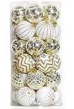 30PCS Christmas Balls Ornaments,60MM Gold&White Painted Shatterproof Festive Wedding Hanging Ornaments Christmas Tree Decoration