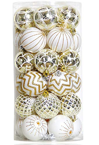 30PCS Christmas Balls Ornaments,60MM Gold&White Painted Shatterproof Festive Wedding Hanging Ornaments Christmas Tree Decoration