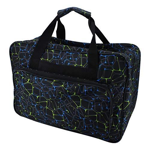 ShawFly Bolsa de la compra para máquina de coser, bolsa de deporte de gran capacidad, bolsa para máquina de coser doméstica, bolsa universal de nailon con bolsillos y asas (negro, L)