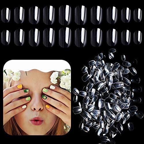 Kalolary 600pcs Kinder Falscher Nagel, Falsche Nägel zum Aufkleben Künstliche Fingernägel Transparente Acryl Nagelspitzen Volle Abdeckung Kurzer falscher Nagel Geschenk für Mädchen