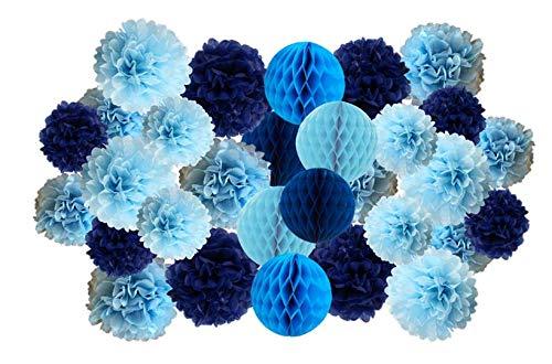 Matissa Lot de 30 Pompons en Papier et Boules en nid d'abeille pour Anniversaire de Mariage, Noël, fête d'école vallentine (Couleur Bleue)