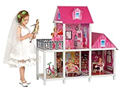 Big Size - Large enough that multiple children can play and enjoy at once. Dimensions: 39.9 x 16.8 x 39.3 inches Vivid Furniture - Includes sofas, makeup table and chair with mirror, fan, bicycle, pet dog,etc. (Dolls not included) Colorful Details - ...