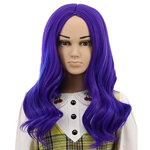 Yuehong Long Curly Purple Wig Party Wigs For Women Cosplay Costume Halloween Hair Wigs (kid)