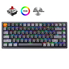 A 75% layout (84-key) RGB backlight compact Bluetooth mechanical keyboard. The ultimate tenkeyless keyboard that retains shortcut and arrow keys. Aluminum frame. Connects with up to 3 devices via Bluetooth and switch among them easily. With high reli...