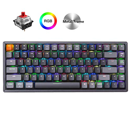 Keychron K2 Wireless Bluetooth/USB Wired Gaming Mechanical Keyboard, Compact 84 Keys RGB LED Backlit Red Switch N-Key Rollover, Aluminum Frame for Mac Windows