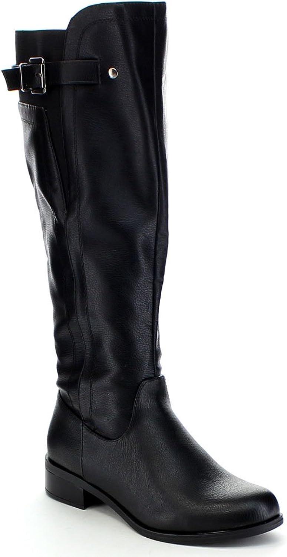 Soda ENCINA Women's Buckle Strap Side Zip Elastic Knee High Riding Boots