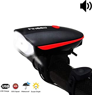 fineed Bike Light Front Bicycle Horn Set,250 Lumen LED Bike Light,USB Rechargeable Bike..