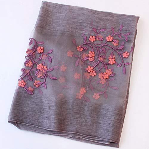 Borduurwerk Zijden sjaal Dames Dames Fleece Sjaals Mode Zacht zijdeachtig Glad Warm Anti allergie Lange sjaal Kaap voor Party Meisje Geschenk, 200 * 88cm