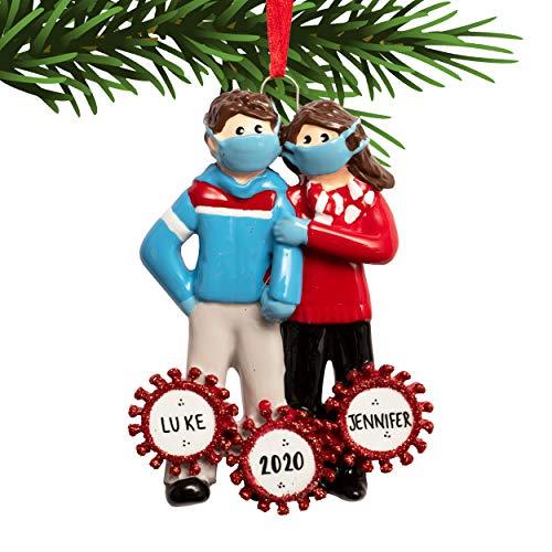 UniqXmas Survived Corona Couple Personalized Christmas Ornament - Free Customization | Figurines...