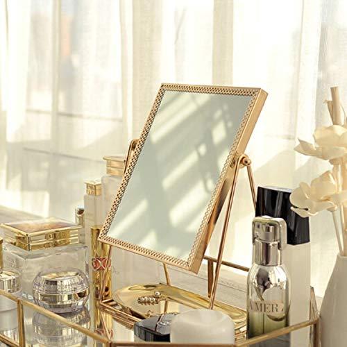 ZHOUSITONGEU Desktop Decor Mirror met draagbare make-up spiegel Espejos Decorativos, Style: Vierkant