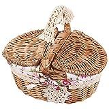 Fdit cestino da picnic in vimini, contenitore con manici e antiscivolo Holiday camping uso casa decorazione di nozze