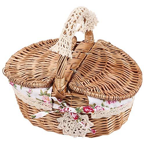 Fdit Panier de pique-nique en osier avec poignées et doublure, idéal pour les vacances, le camping, la maison, la décoration de mariage