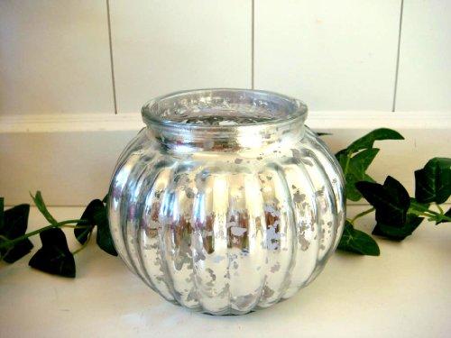Weihnachtsdeko Windlicht aus Glas rund Teelichthalter Kugelwindlicht silber x-Mas Weihnachten Deko 13,5cm