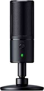 Razer Seiren X - Streaming USB Condenser Microphone (Compact with Damper, Supercardioid Recording Pattern, No Latency, Mut...